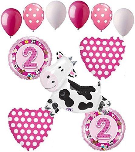11 pc 2nd Birthday Cow Balloon Bouquet Happy Decoration Farm Animal Second -