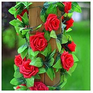 Aioverun Artificial Rose Silk Flower Green Leaf Vine Garland Home Wall Party Decor Wedding Decal (Red)