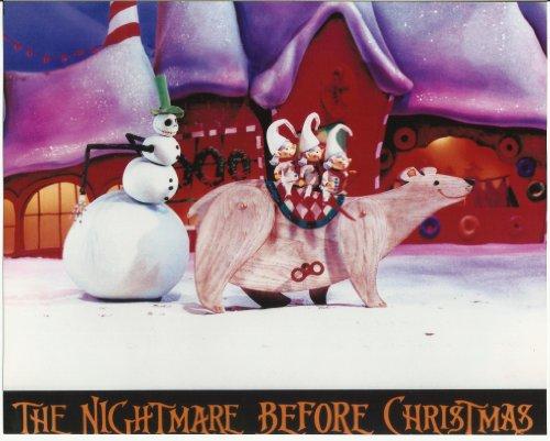 Polar Bear Riding (Nightmare Before Christmas 8x10 Photo Snowman Jack with Elves riding polar bear)