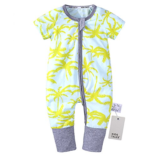 Kids Tales Baby Boys Girls Zipper Short Sleeve Pajama Sleeper Cotton Romper(Size 3M-3T)
