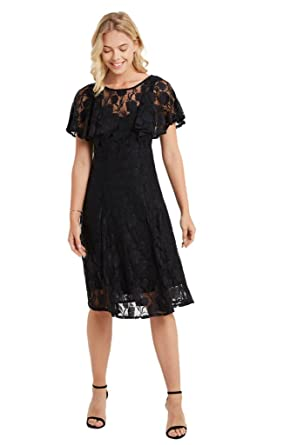 Amazon Com Women S Lace Floral Ruffle Layers Fit And Flare Midi