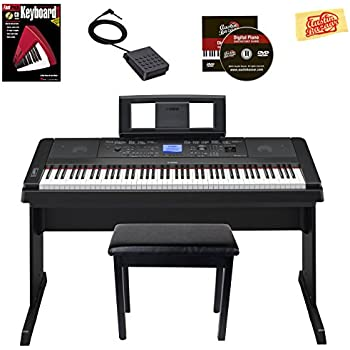 Yamaha DGX-660 Digital Piano - Black Bundle with Furniture Bench, Instructional Book, Austin Bazaar Instructional DVD, and Polishing Cloth