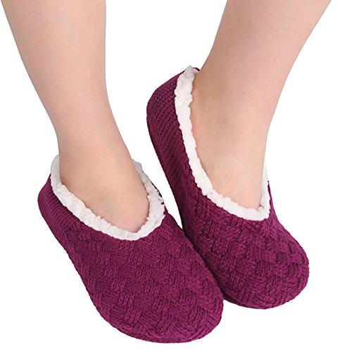 Chicnchic Women Warm Cross Knit Anti Slip Slipper Socks Casual Cotton Slip On Socks With Grippers  10 11 B M Us  Wine Red