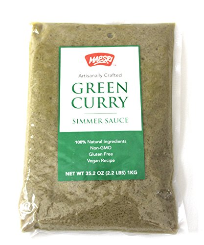 Maesri Green Curry Simmer Sauce | Restaurant Quality Authentic Thai Curry Sauce for Quick One Pot Meals | Just add Meat and Veggies | Non-GMO, Vegan, Gluten Free | 35.2 Oz Bag by Maesri
