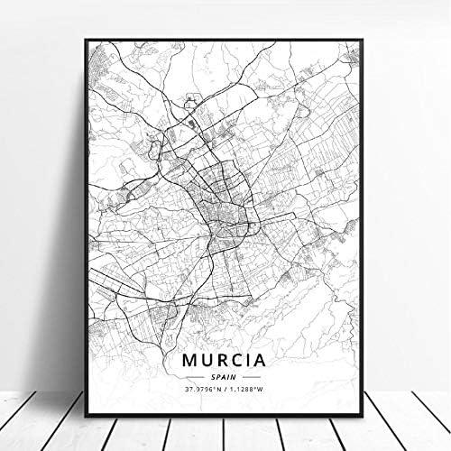 NOVELOVE Mapa de la Ciudad de Murcia España Cartel HD Impresiones Arte de la Pared Imágenes Lienzo Pintura Bar Mural Decoración del hogar sin Marco 50 * 70 cm: Amazon.es: Hogar
