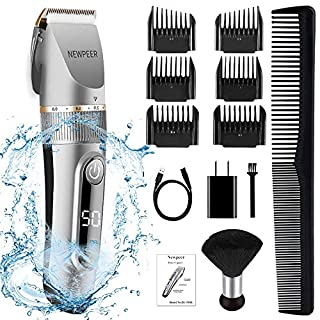 NEWPEER Hair Clippers for Men Professional Cordless Hair Trimmer Adjustable Electric Hair Clippers Beard Trimmer Wet/Dry Clippers Rechargeable Hair Cutting Kit with Neck Duster
