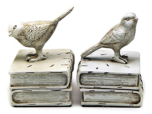 Bellaa 28649 Birds Bookends Vintage Style Decorative Book Holder Paper Weights