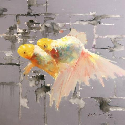 Oil Painting 'Decorative Goldfish' Printing On Perfect Effect Canvas , 12x12 Inch / 30x30 Cm ,the Best Garage Decoration And Home Decor And Gifts Is This Beautiful Art Decorative Prints On Canvas