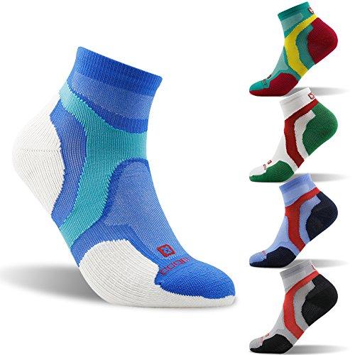 Quarter Socks Women, ZEALWOOD Low Cut Running Athletic Performance Socks, Travel Running Socks for Women, Merino Wool Socks, Cushion Running Socks Ankle Antibacterial Socks-Blue/White,Small by ZEALWOOD (Image #1)