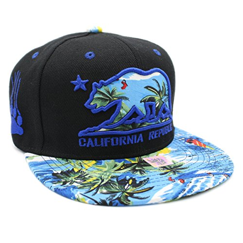 LAFSQ Kid's Youth Embroidered California Republic With Bear Claw Scratch Snapback Cap - San Street Beach Francisco