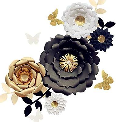 Fonder Mols 3d Paper Flower Decorations Set Of 13 White Black
