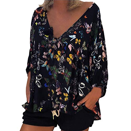 Butterfly Print Blouse, 2019 QIQIU Women's Loose V-Neck Plus Size Summer Long Puff Sleeve Top T-Shirt Navy ()
