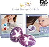 YouCare Breast Therapy Gel Pads | Hot Cold Therapy | Breastfeeding Relief | Reusable Motherhood Padding Set | Decrease Sore Nipples, Boost Milk let-Down with Gel Bead Pads | FDA Approved | 2-Pack