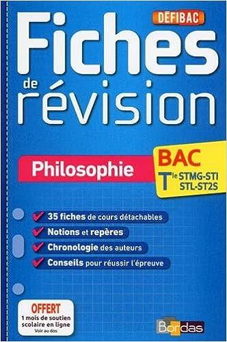 En ligne téléchargement DéfiBac - Fiches de révision - Philosophie Tles STMG-SMS-ST2S-STL pdf, epub