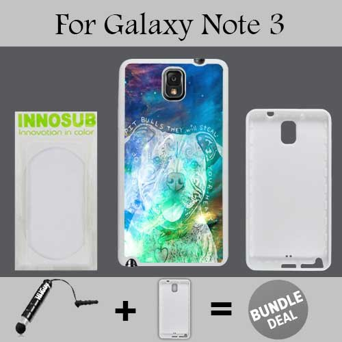 Beware of Pit Bulls Custom Galaxy Note 3 Cases-White-Rubber,Bundle 2in1 Comes with Custom Case/Universal Stylus Pen by innosub