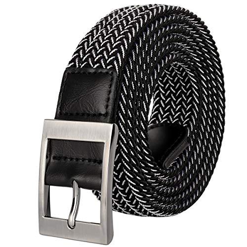 Drizzte Plus Size 63inch Mens Belts Stretch Elastic Braided Waist Belt Black - Inch Belt 60