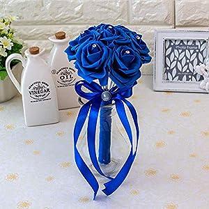 20 Colors Flower Wedding Bouquet with Ribbon Handmade Artificial Crystals Handle Bridal Bouquet Buque De Noiva 98