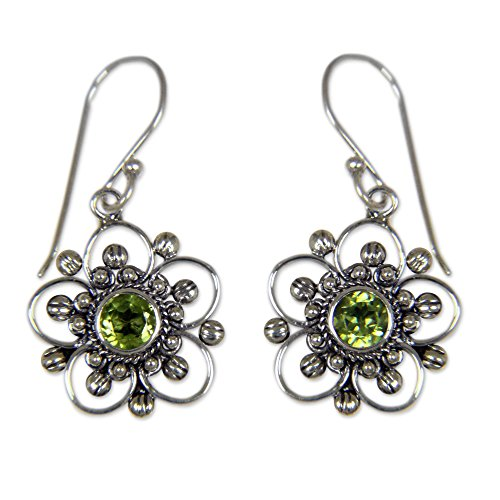 - NOVICA 925 Sterling Silver and Peridot Flower Dangle Earrings, Nature's Gift'