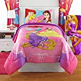 5 Piece Girls Disney Princess Bedazzling Theme Comforter Full Set, Pretty Faces Rapunzel, Belle and Ariel Bedding, Animated Movie, Elegance Bohemian Pattern Background, Vibrant Colors Purple, Pink