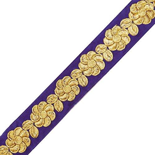 Velvet Trim Floral Craft Purple Ribbon 3.04 Cm Wide Sari Border By The Yard (Fabric Red Borders)