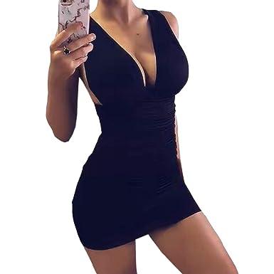 0e679c9c5a148 Amazon.com: Women's Sexy Deep V-Neck Halter Backless Solid Mini Party Club  Dress Spaghetti Straps Sleeveless Bodycon Dress: Clothing