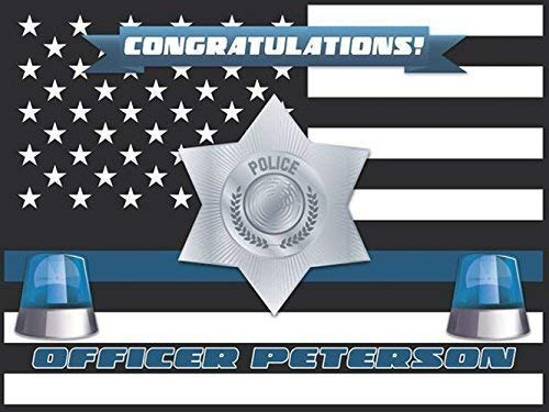 Police congratulations banner, Cops, police badge, Wall Poster,