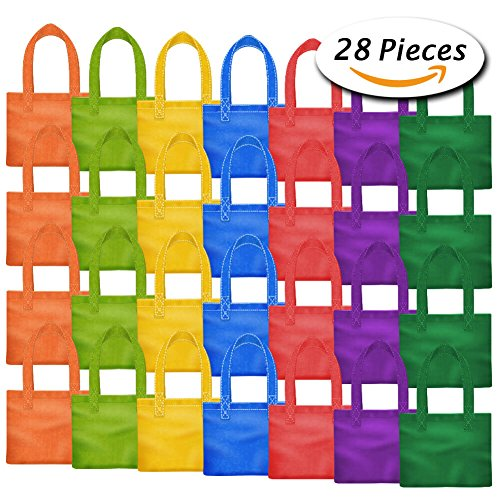 PAXCOO 28 Packs 7 Colors Party Favor Tote Gift Bags Non-woven Goodie Treat Bags with Handles for Kids Birthday, 8 x 8 (Goodie Goodie)
