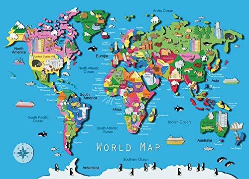 Ravensburger World Map 60 Piece Jigsaw Puzzle for Kids - Every Piece is Unique, Pieces Fit Together Perfectly (Map Puzzle Giant Floor)