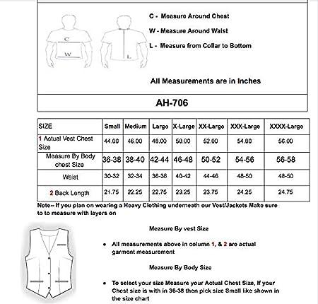 XXXX-Large A/&H Apparel Mens Classic Cowhide Leather Vest Biker Vest Concealed Carry Durable Vest