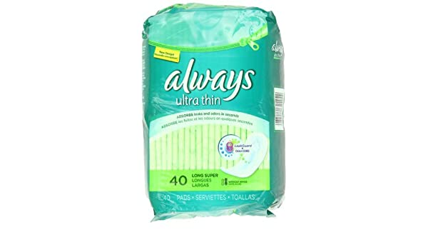 Amazon.com: Always Ultra Long/Super Without Wings, Thin Pads 40 Count by Always: Health & Personal Care
