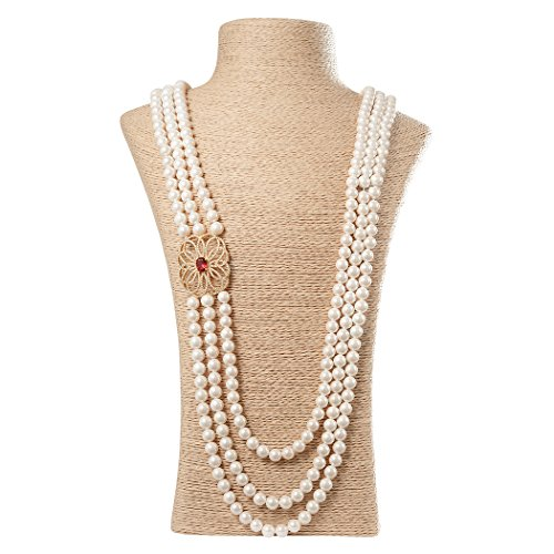 Romantic Time Pearl Hollow Flower Accessory Ruby Pendant Necklaces Beads 3 Strand Fashion (3 Strand Ruby)