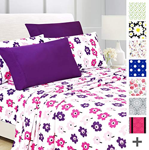 American Home Collection Deluxe 6 Piece Printed Sheet Set of Brushed Fabric, Deep Pocket Wrinkle Resistant - Hypoallergenic (King, Pinky Floral)