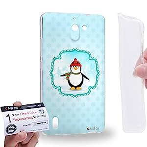 Case88 [Huawei Ascend G628] Gel TPU Carcasa/Funda & Tarjeta de garantía - Art Christmas Classics Christmas Penguin Art1412