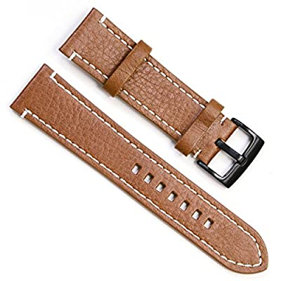 Handmade Vintage Replacement Leather Watch Strap Watchbands with Black Buckle from OliBoPo