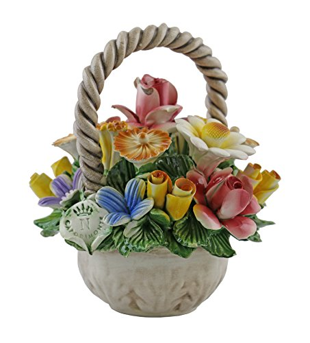 Authentic Italian Capodimonte 7 Inch Mix flower Mini Bouquet Basket with handle