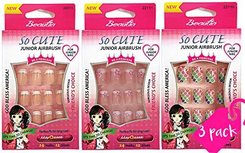 Beautia 3pack So Cute Artificial False Junior Nail with Glue
