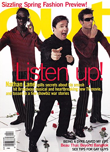 Nathan Lane (The Producers and Laughter on the 23rd Floor) * Gay Life in Thailand * John Rawlings * Mackenzie Astin * Gay & Lesbian Interest * April, 2001 Out Magazine (Laughter On The 23rd Floor Nathan Lane)