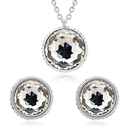 Art Deco Figural - AmDxD Stainless Steel Earring and Necklace Sets for Women Side Round Cubic Zirconia Silver White