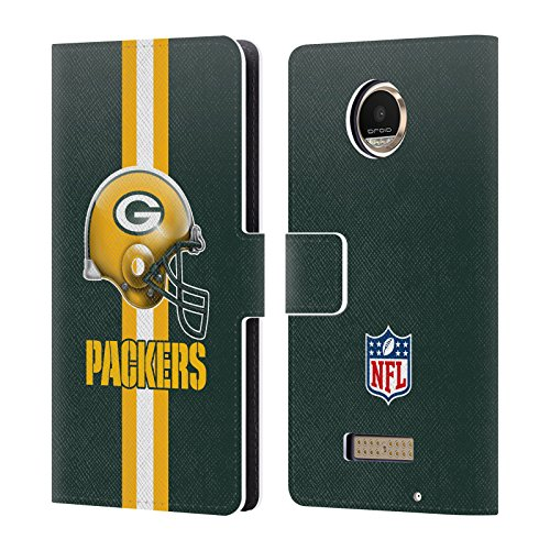 Official NFL Helmet Green Bay Packers Logo Leather Book Wallet Case Cover For Motorola Moto Z Play / Moto Z Play Droid
