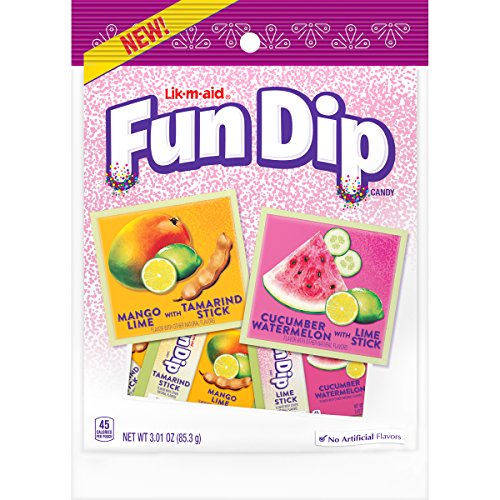 LIK-M-AID Fun Dip Dulceria Mango Lime and Cucumber Watermelon Candy, 3.01 Ounce Bag, 12 Count
