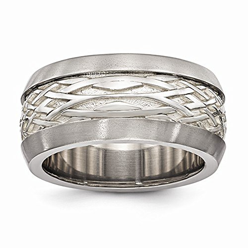 Edward Mirell Titanium & Sterling Silver Inlay High Polish Finish Weave Wedding Band - Size 11.5 by Edward Mirell