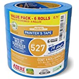 """Adere 527 Crepe Paper 14 Day Easy Release Painters Masking Tape, 54.7 Yds Length X 0.71"""" Width, Blue (Pack of 6)"""