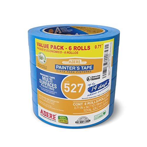 "Hot Adere 527 Crepe Paper 14 Day Easy Release Painters Masking Tape, 54.7 Yds Length X 0.71"" Width, Blue (Pack of 6)"