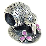 925 Solid Sterling Silver Kiwi Bird with Pink Flowers Charm Bead