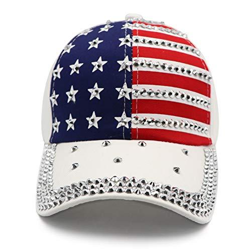 USA Patriotic Bling Baseball Cap Sparkle American Flag Hat for Men Women 4th July Summer Sun Cap from Lvaiz