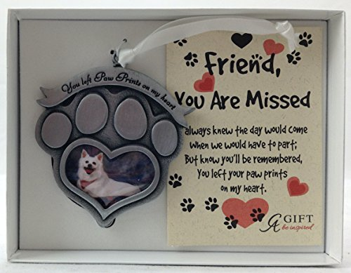 Cathedral Art CO843 Paw Prints Pet Memorial Photo Ornament, 2-1/2-Inch (Memorial Pet Ornaments)