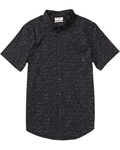 (Billabong Men's Printed Woven Short Sleeve Shirts, Black, M)