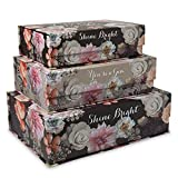 Tri-Coastal Design Decorative Nesting Storage Boxes with Lids Stackable Box Set with Black Floral Designs - Rectangle Cardboard Containers for Storage and Organization - Small, Medium, and Large