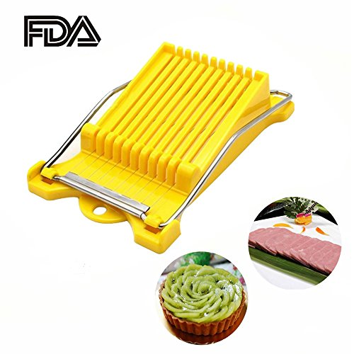 Amhii Multipurpose Stainless Steel Slicer - Meat, Vegtables, Boiled Egg Cutter with 10 Cutting Wire (Yellow)