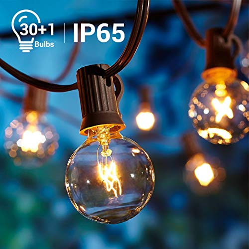 Quntis Outdoor String Globe Lights - 33FT G40 30Bulbs Edison Patio Lights Decorative for Indoor Outdoor Backyard Bistro Pergola Tents Market Cafe Gazebo Party Christmas - UL Listed ()